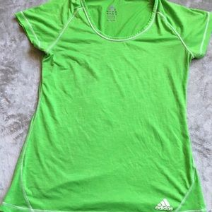 Adidas Lime Green Scoop Neck Active T-Shirt LG